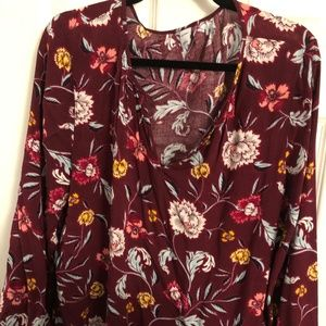 Old Navy Long Sleeve Burgundy Top with Flowers